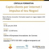 """(Català) Nova càpsula formativa al CEI Cervera: """"Capta clients per internet i impulsa el teu negoci"""""""